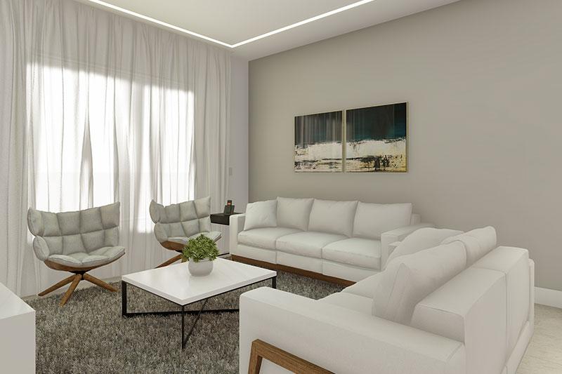 Sala de estar com cortina e tapete