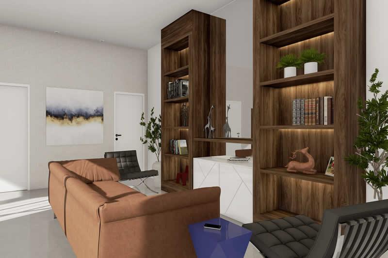 Sala de estar com sofá e estante