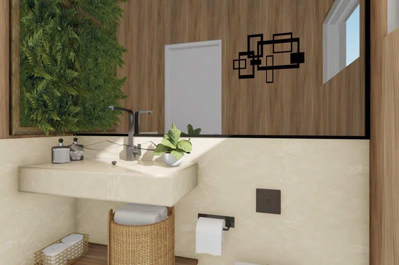 Lavabo com jardim vertical