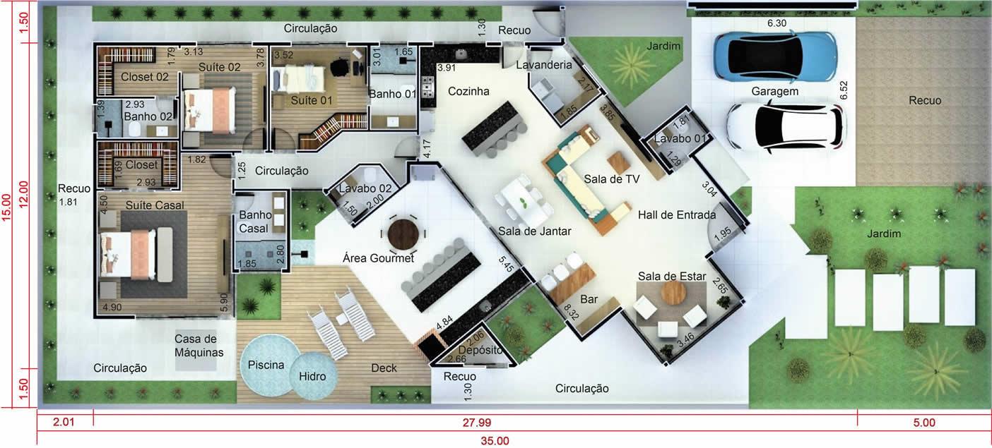 Projeto de casa térrea de alto padrão. Planta para terreno 15x35