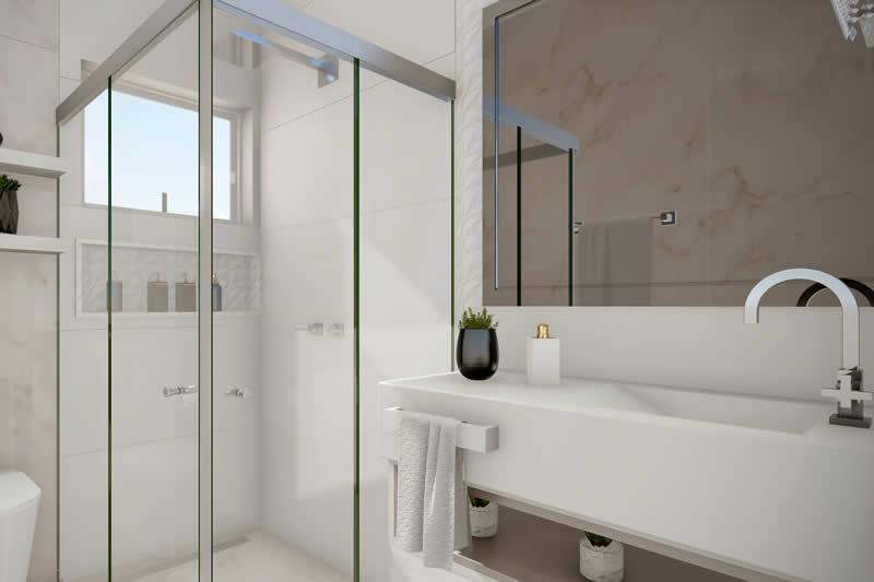Banheiro com cuba em marmore
