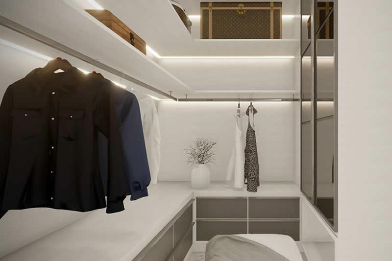 Closet com iluminação em led