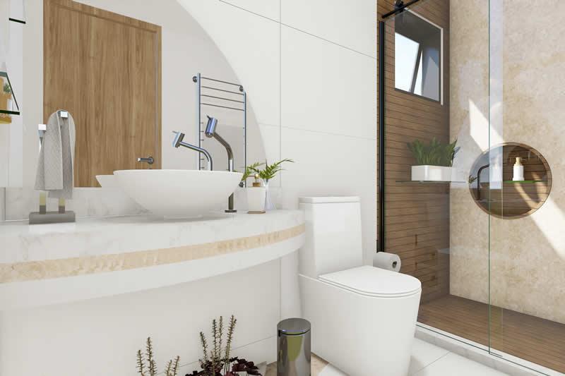 Banheiro amadeirado