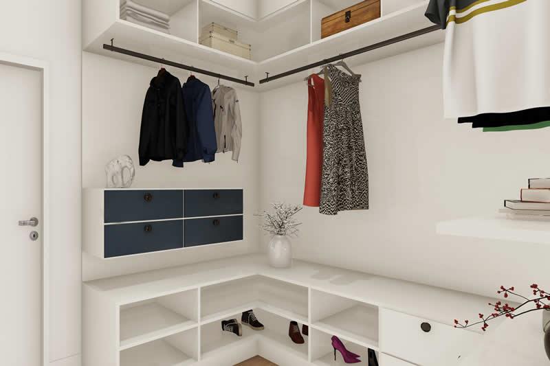 Closet aberto com roupas a vista