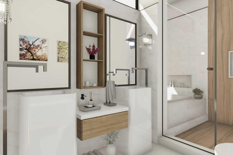 Banheiro clean com duas cubas