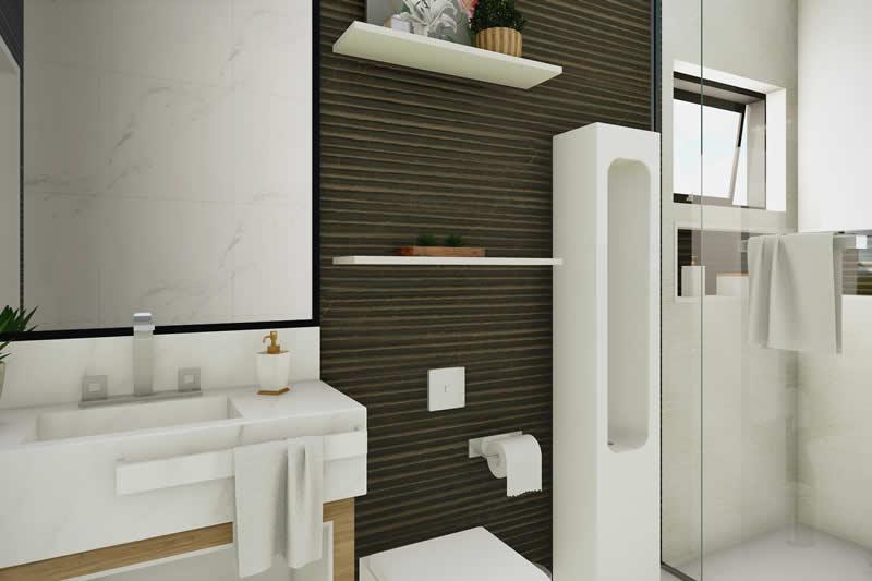 Banheiro com revestimento