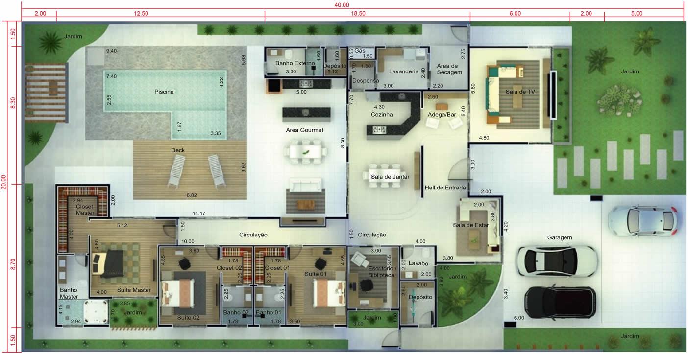 Projeto de casa térrea para terreno grande. Planta para terreno 20x40