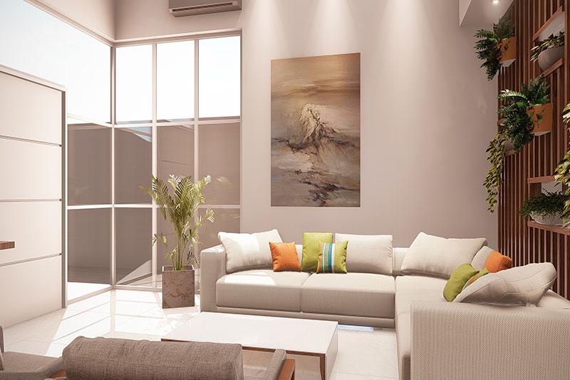 Sala de estar com parede de vidro