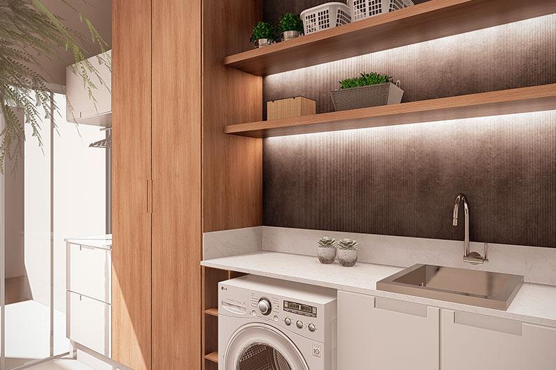 Lavanderia com pia maquina de lavar e armário