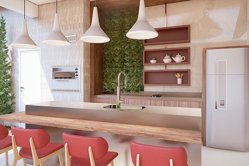 Área gourmet com jardim vertical