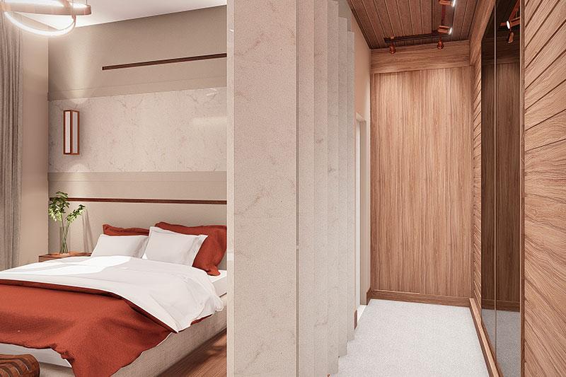 Closet com portas de madeira