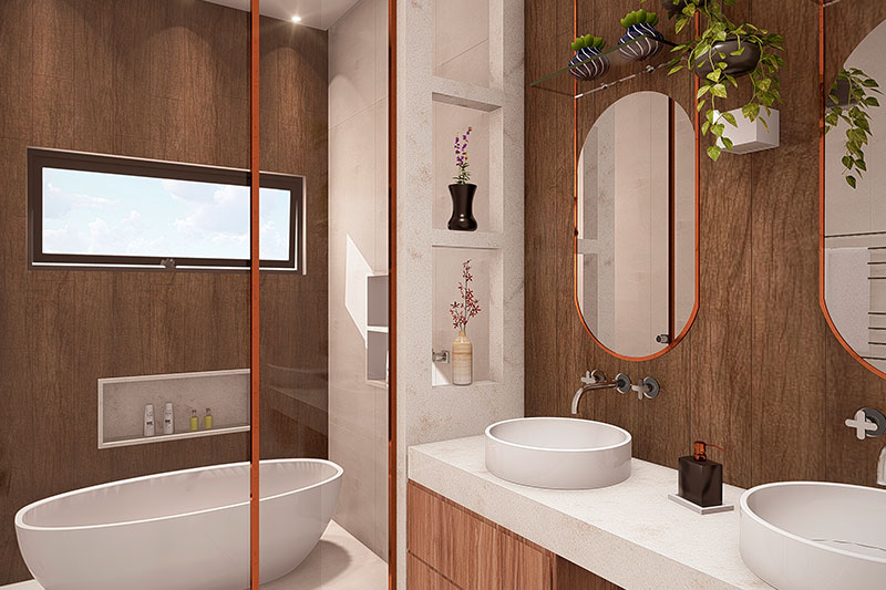 Banheiro de casal com ofurô