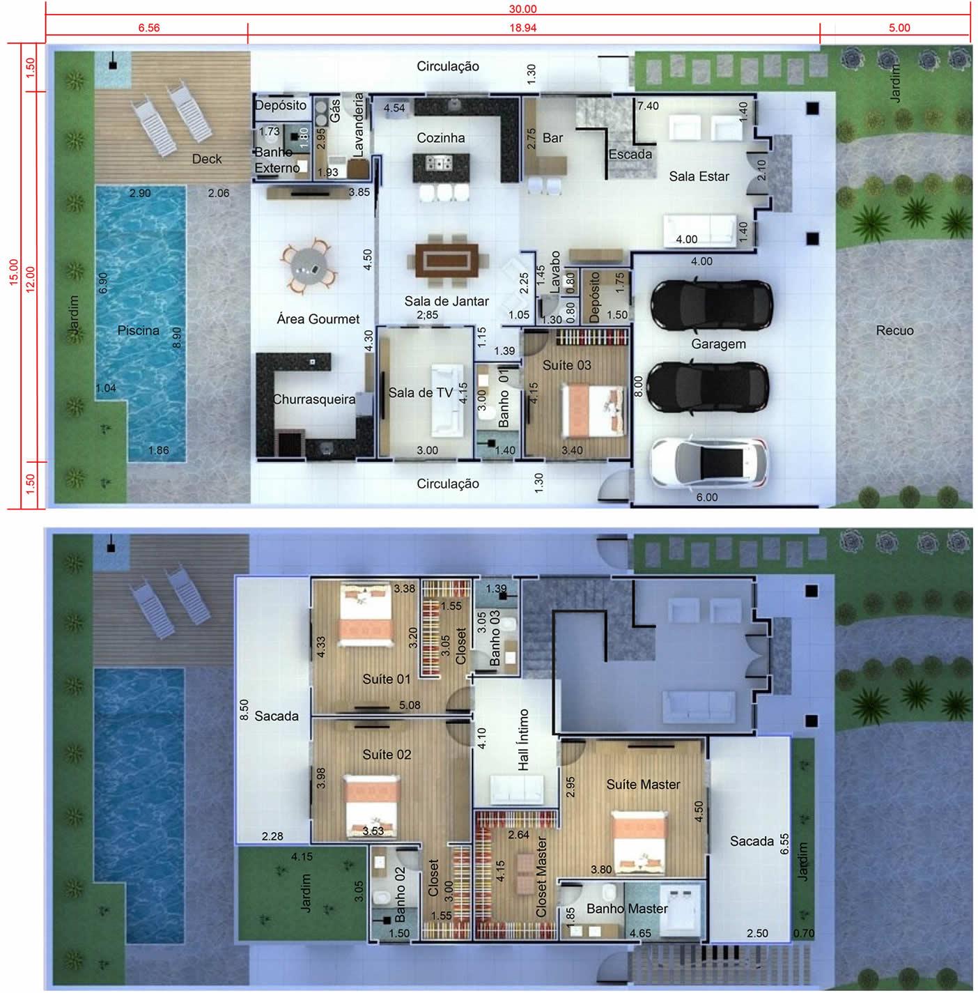 Planta de casa neoclássica moderna. Planta para terreno 15x30