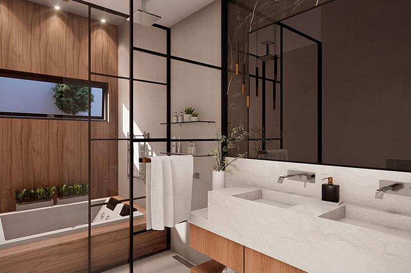 Banheiro de casal com banheira dupla