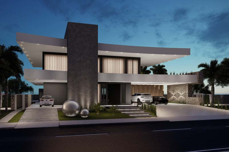 Projeto de mansão contemporânea