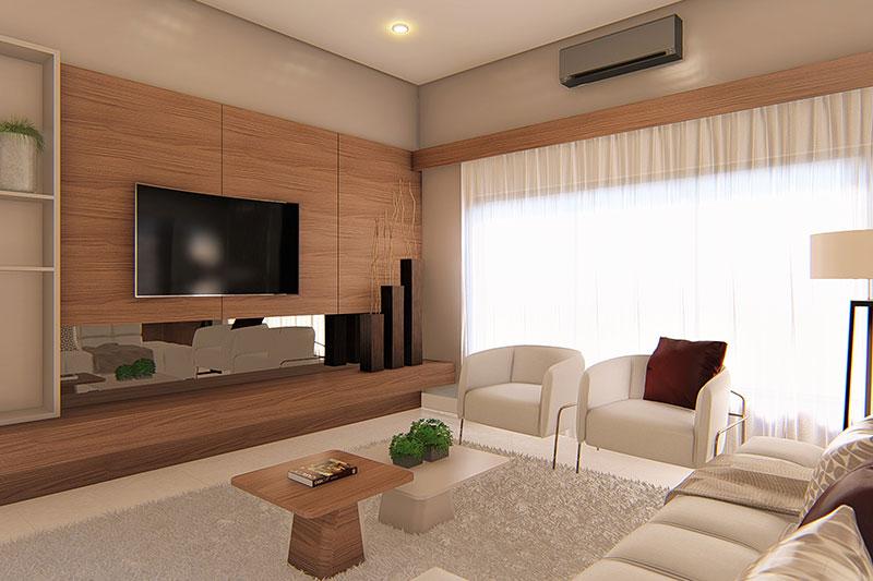 Sala de TV com painel em beje