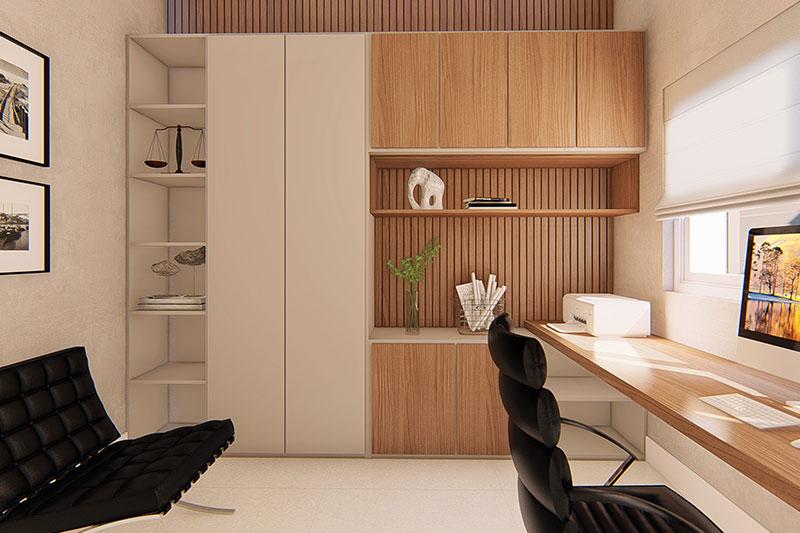 Escritório com parede em madeira