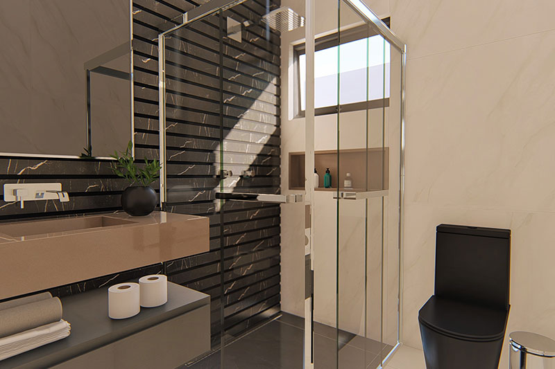 Banheiro com revestimento em preto
