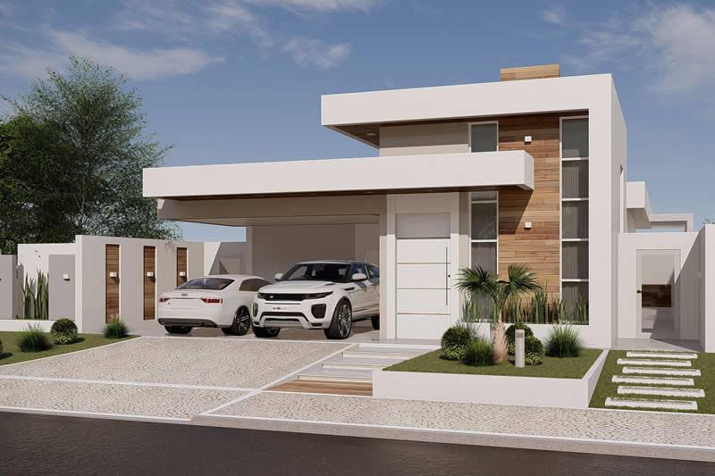 Projeto de casa térrea moderna com 3 suítes