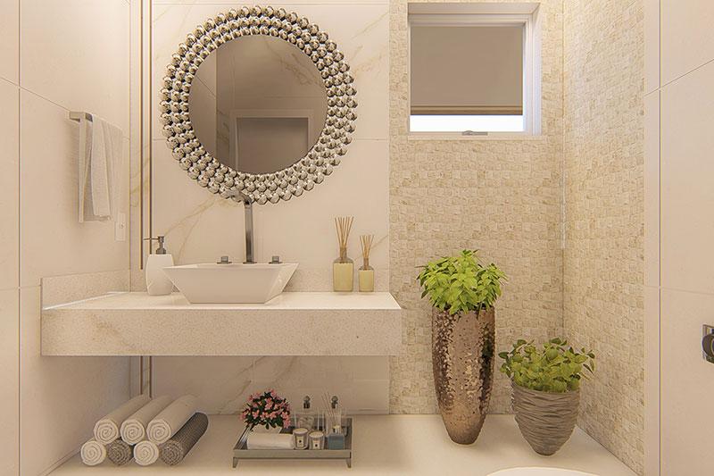 Banheiro com espelho em pedras