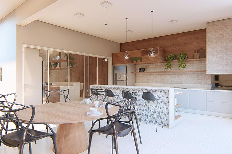 Área Gourmet com mesa redonda