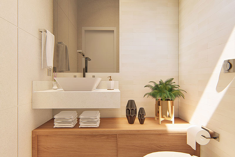 Banheiro com espelho Clean
