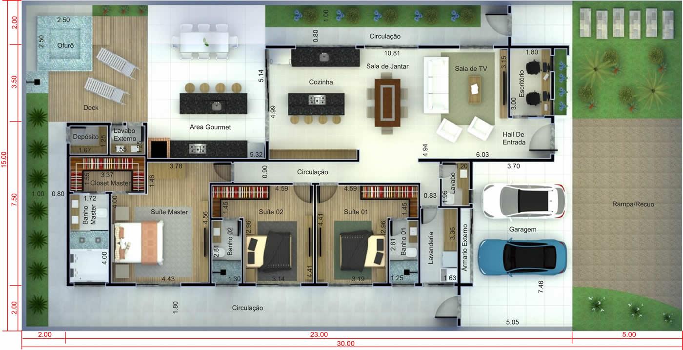 Projeto de casa térrea moderna com 3 suítes. Planta para terreno 15x30