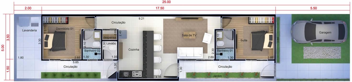Planta minha casa minha vida com 2 quartos. Planta para terreno 5x25