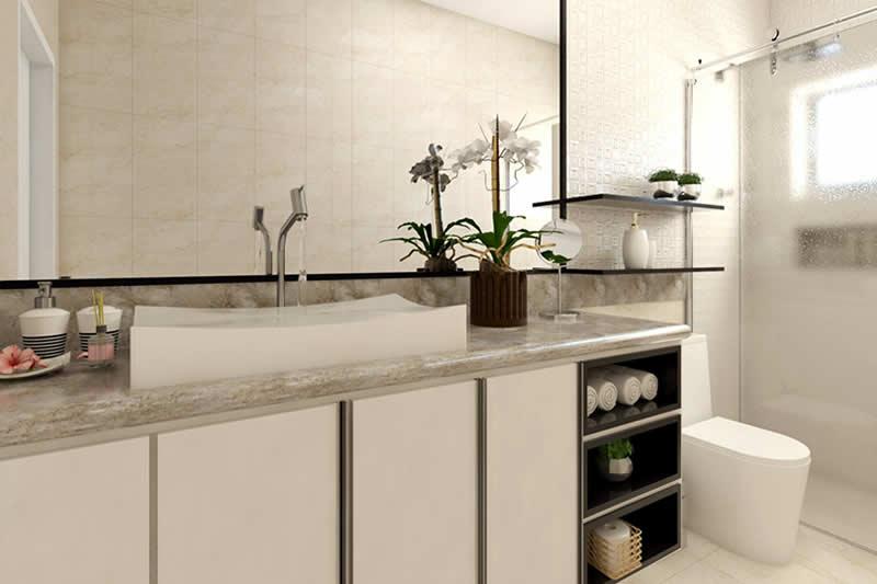 Banheiro decorado com espelho