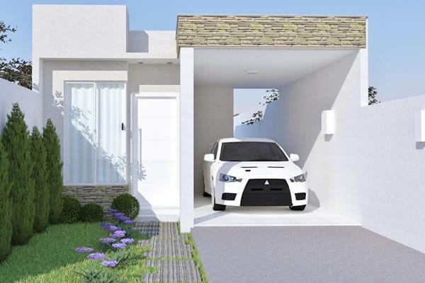 Planta de casa térrea com telhado embutido