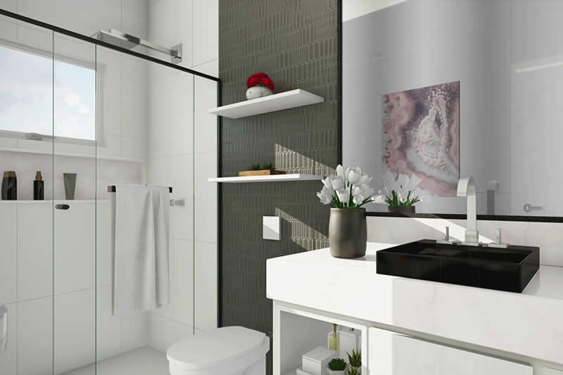 Banheiro com detalhe cinza