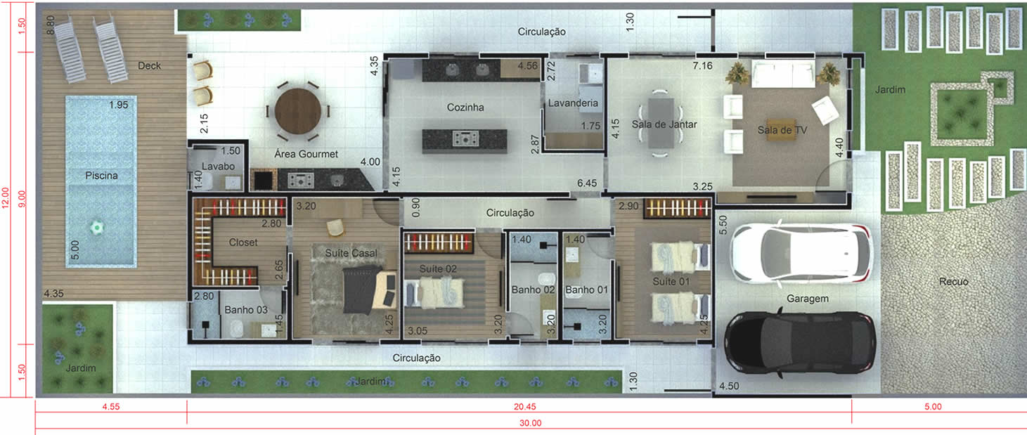 Planta de casa térrea para condomínio. Planta para terreno 12x30