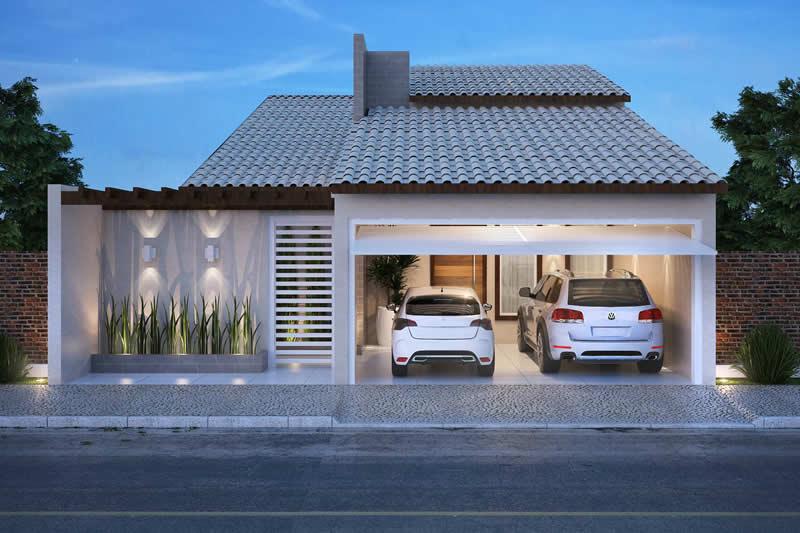 Casa com telhado aparente
