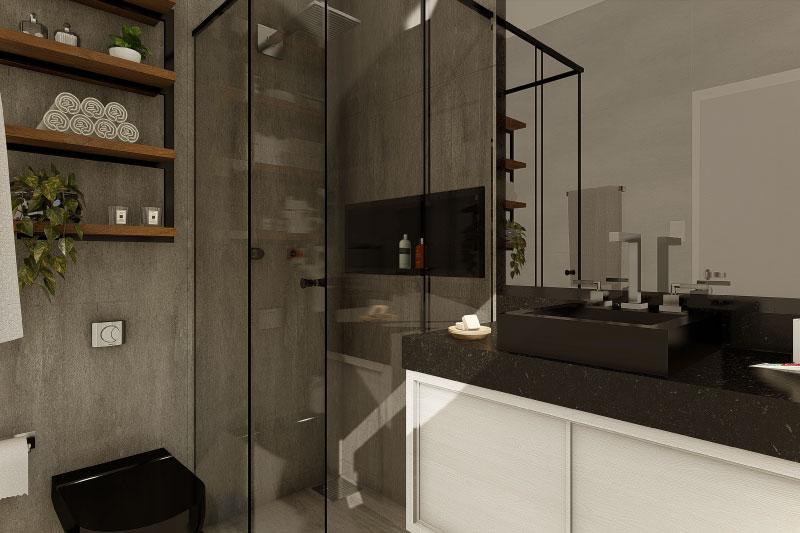 Banheiro com pia em pedra