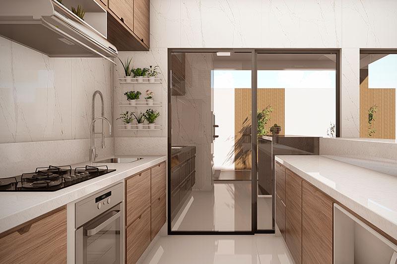 Cozinha integrada com área gourmet