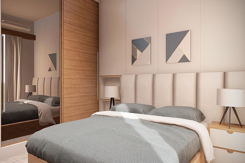 Quarto com cama de casal e madeira