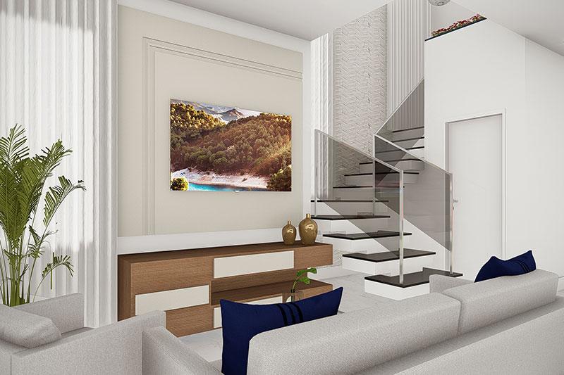 Sala de tv com escada