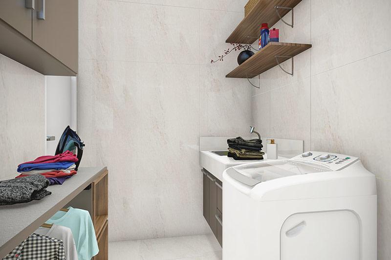 Lavanderia com porcelanato