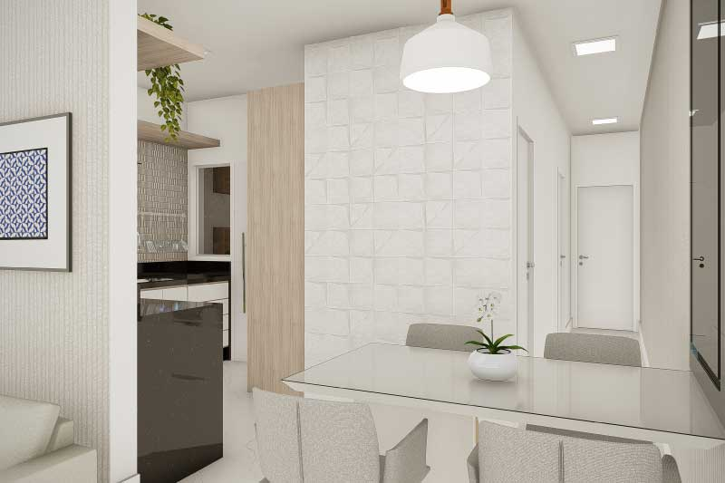 Sala de jantar pequena e integrada