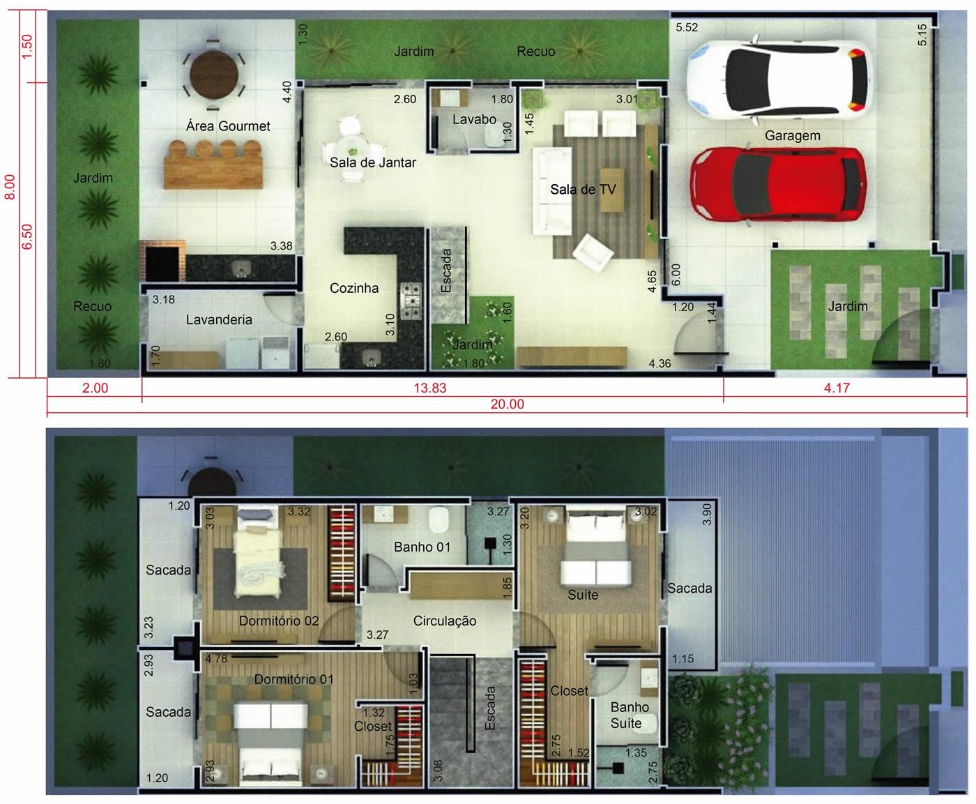 Planta de casa com 3 quartos com sacada. Planta para terreno 8x20