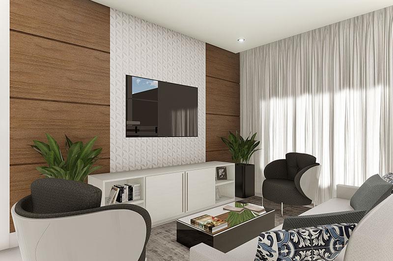 Sala de TV com sofá e poltrona