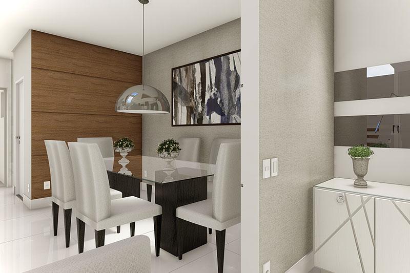 Sala de jantar integrada aos demais ambientes