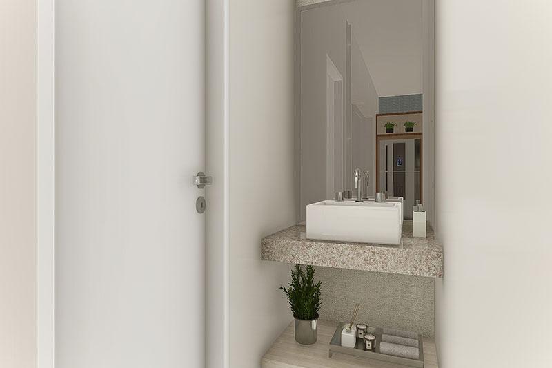 Lavatório com espelho fora do banheiro