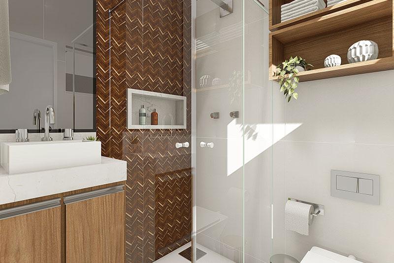 Banheiro quadrado com box no canto