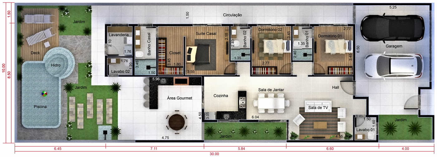 Planta de casa com 3 quartos e closet. Planta para terreno 10x30