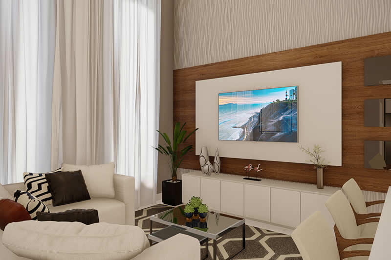 Sala de TV moderna com papel de parede e cortina