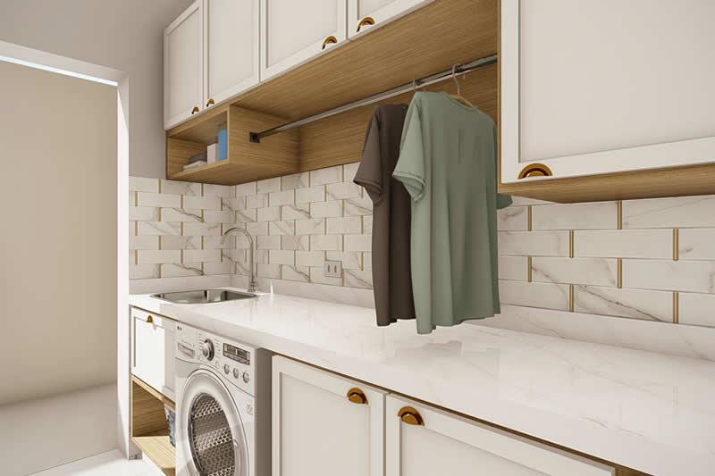Lavanderia com armário embutido