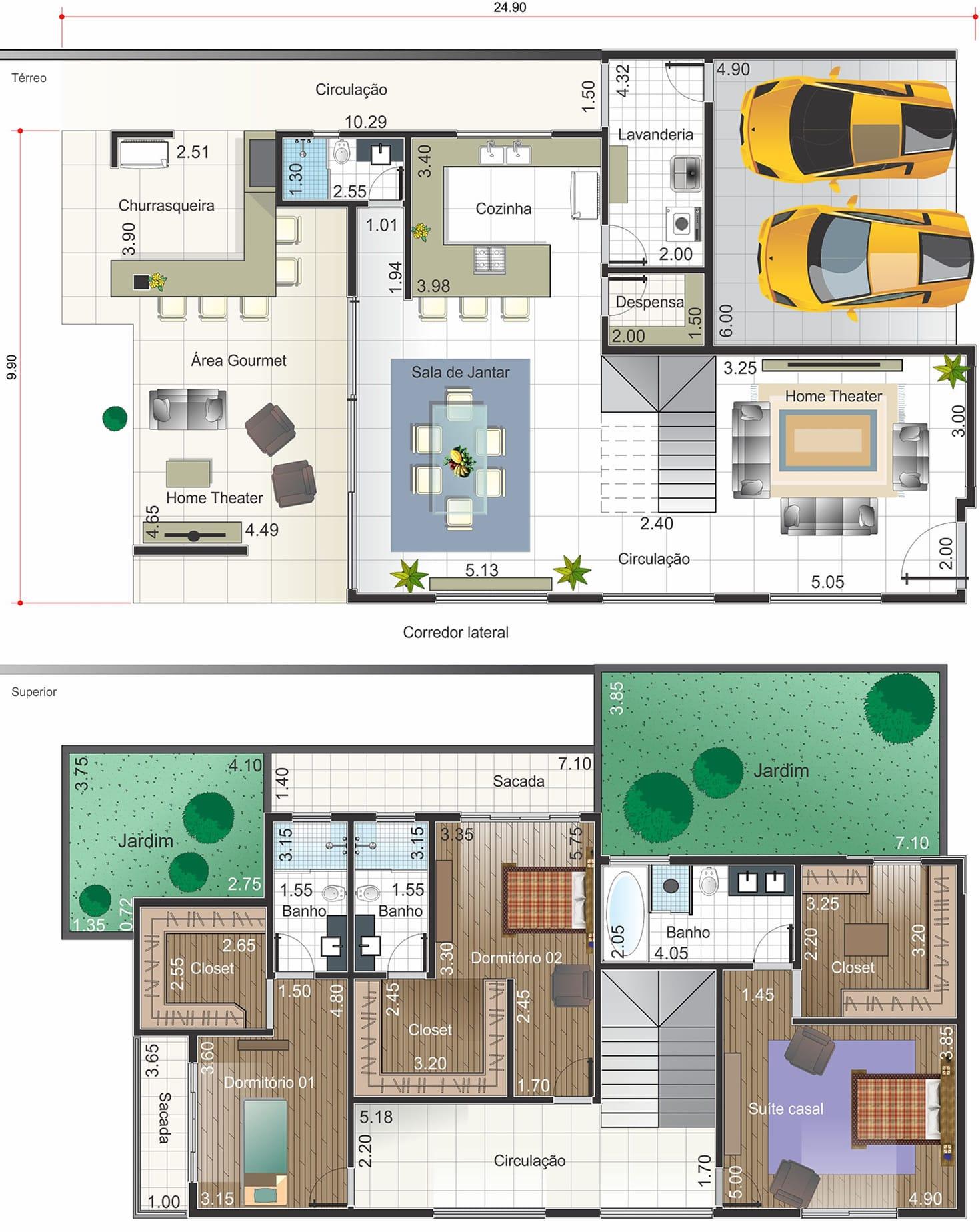 Planta de casa em estilo clássico. Planta para terreno 13x30