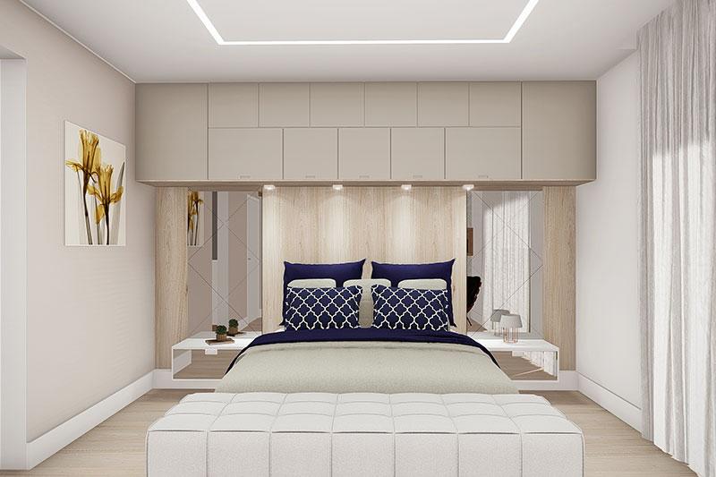 Suíte de casal com armário no alto