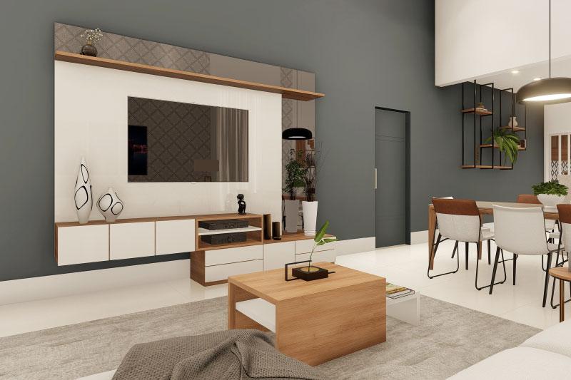 Sala de TV com parede cinza escuro